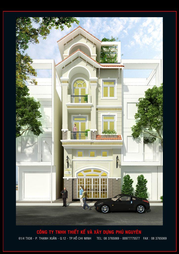 mẫu nhà phố 3 tầng tân cổ điển đẹp, Hoàng Hoa Thám, Tân Bình