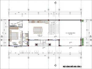 giá thiết kế nhà phố - Mặt bằng điều hòa tầng 1